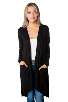 Solid Duster with Front Pockets