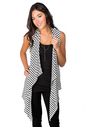 Striped Long Open Vest with Pockets