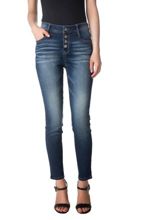 WallFlower Dark Wash High-Rise Luscious Skinny Anklet Jean with Button Fly