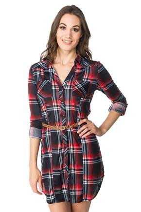 Plaid Shirt Dress with Braided Belt and Chest Pockets