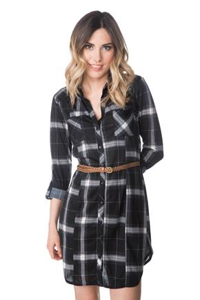Plaid Shirt Dress with Braided Belt and Roll-up Sleeves
