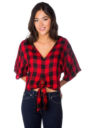 Buffalo Plaid Dolman Top with Tie Front and V-neck