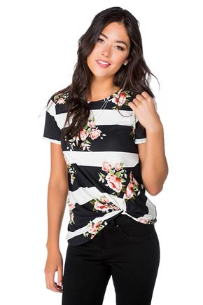 Floral Striped Tunic with Short Sleeves and Knotted Hem