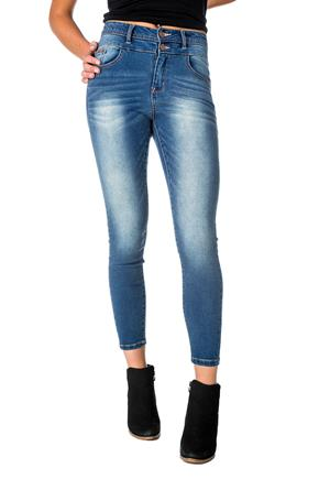 WallFlower Mid-Wash High-Rise Sassy Skinny Anklet Jean with Stacked Waistband