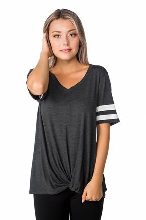 Short Sleeve Varsity Tee with Knotted Hem