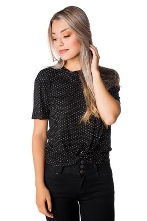 Polka Dot Top with Knotted Hem