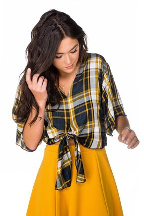 Plaid Dolman Top with Tie Front and V-neck