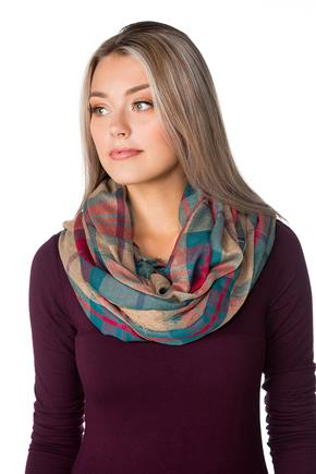 Plaid Light Infinity Scarf with Fringed Edge