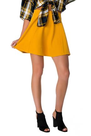 Textured Skater Skirt with Narrow Waistband