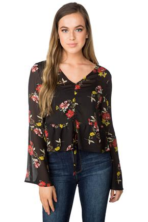 Floral Bell Sleeve Blouse with Cinched Front