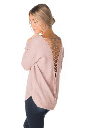 V-neck Sweater with Lace-up Back and Shirttail Hem