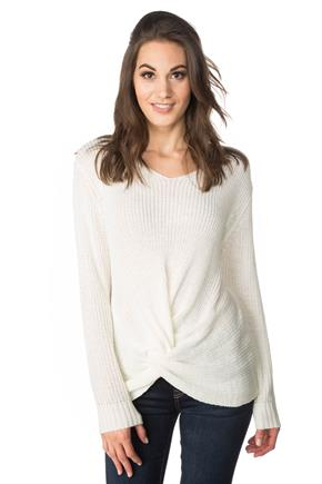 V-neck Sweater with Knotted Front
