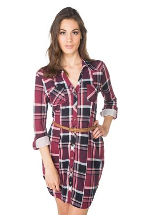Cozy Plaid Shirt Dress with Braided Belt and Chest Pockets