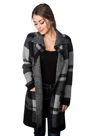 Plaid Sweater Coatigan