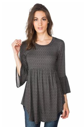 Diamond Pattern Babydoll Tunic with Bell Sleeves
