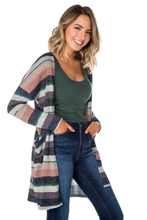 Striped Open Cardigan with Pockets