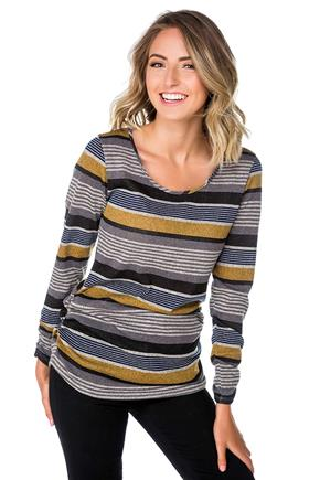 Striped Sweater with Ruching