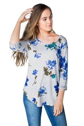 Floral Sweater with 3/4 Length Cuffed Sleeves