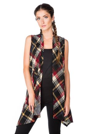 Plaid Waterfall Vest