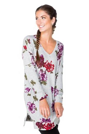 Floral V-neck Tunic with Side Pockets