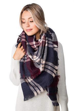 Burgundy and Blue Plaid Blanket Scarf