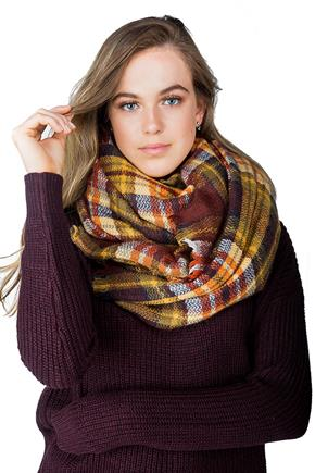 Warm Tones Plaid Blanket Scarf