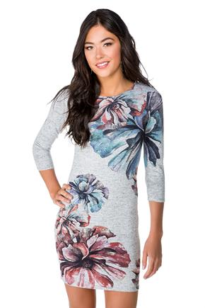 Printed Floral 3/4 Sleeve Bodycon Dress