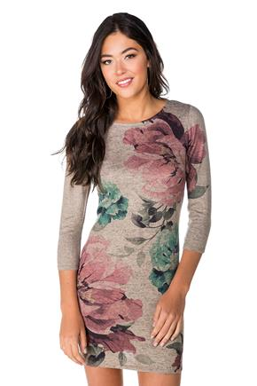 Printed Floral Bodycon Dress with 3/4 Sleeves