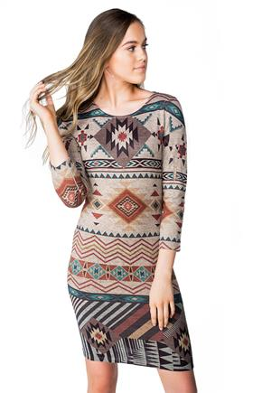 Aztec Dress with 3/4 Length Sleeves