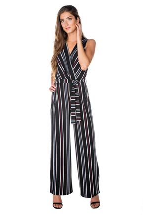 Striped Crossover Jumpsuit with Tie Belt