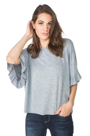 SuperSoft Sweater with Short Ruffle Sleeves