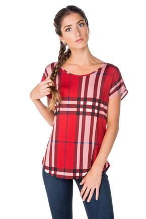 Plaid Top with Criss Cross Back
