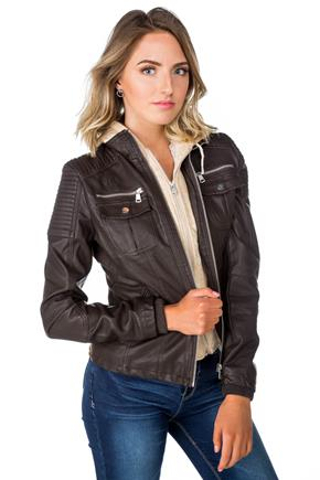 Faux Leather Jacket with Hoodie Fooler