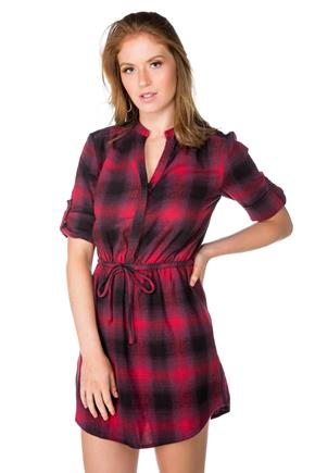 Plaid Flannel Dress with Pockets and Drawstring Waist