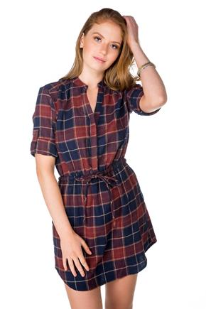 Plaid Flannel Dress with Drawstring Waist and Pockets