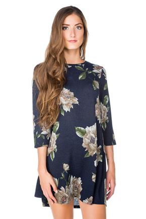 Floral Swing Dress with 3/4 Sleeves
