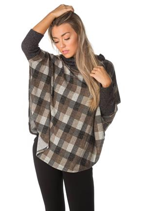 Plaid Poncho with Contrasting Cowl Neck and Button Detail