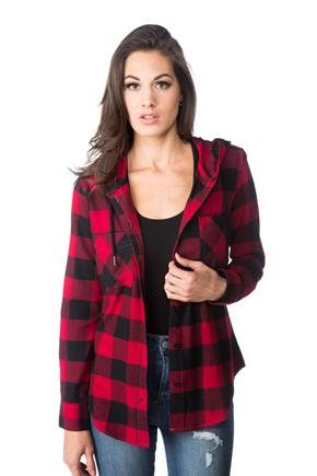 Finley Buffalo Plaid Shirt with Hood