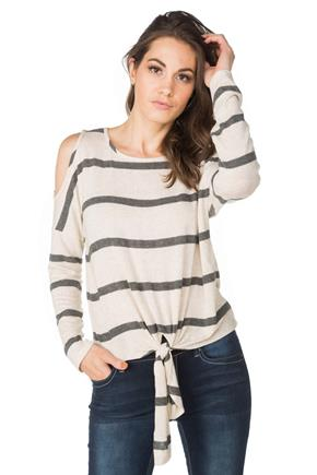 Striped Cold Shoulder Sweater with Tie Front