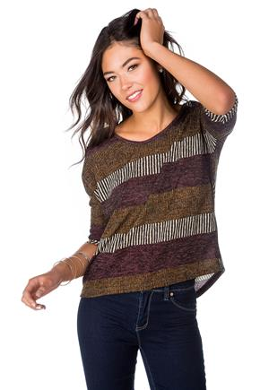 Striped Dolman Sweater with Criss Cross Back