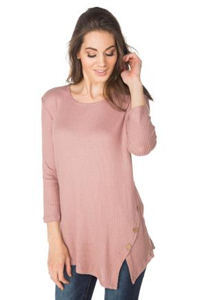 Waffle Knit Sweater with Asymmetrical Hem and Buttons
