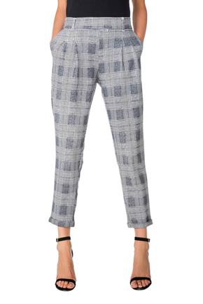 Pleated Plaid Anklet Trouser