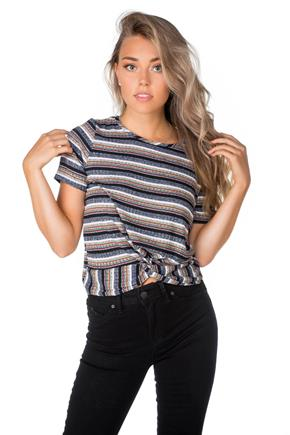 Ribbed Striped Sweater with Knotted Hem