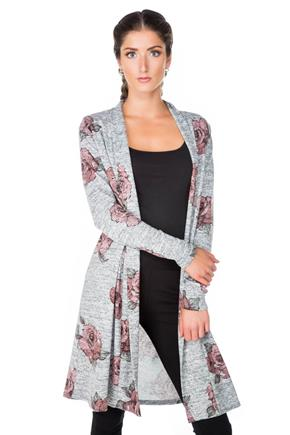 Rose Print Long Cardigan