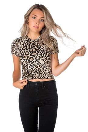Animal Print Crop Top with Knotted hem