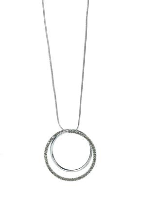 Long Necklace with Double Circle Pendant