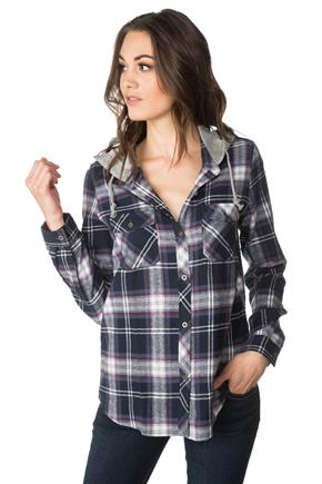 Madison Plaid Shirt with Hood