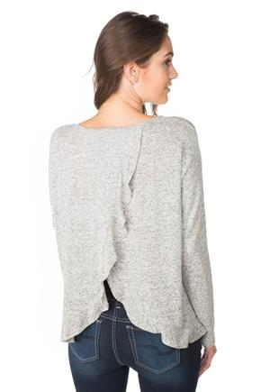 Crossover Back Ruffle Detail Sweater