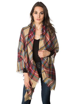 Multicolour Plaid Blanket Scarf with Fringe