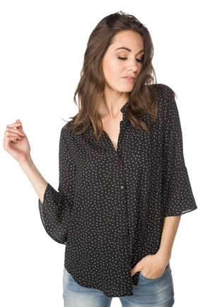 Square Dot Bell Sleeve Blouse